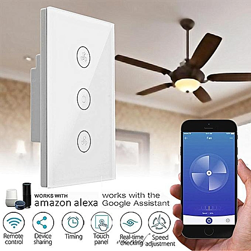 120mm WIFI Smart Fan Speed Controller Switch Touch Panel For Alexa/Google Home