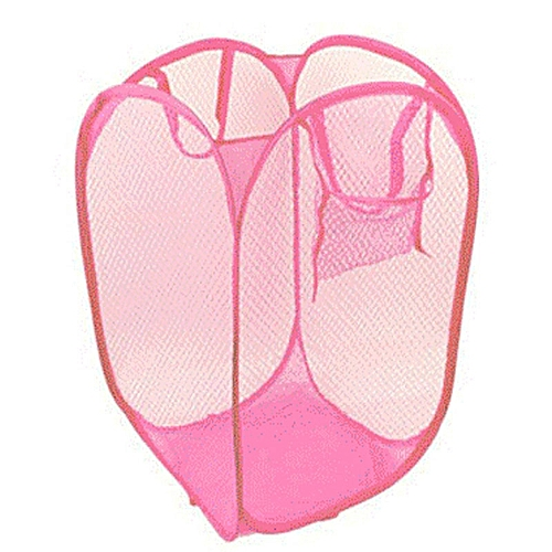 Foldable Pop Up Washing Laundry Basket Bag Hamper Mesh Storage Pink