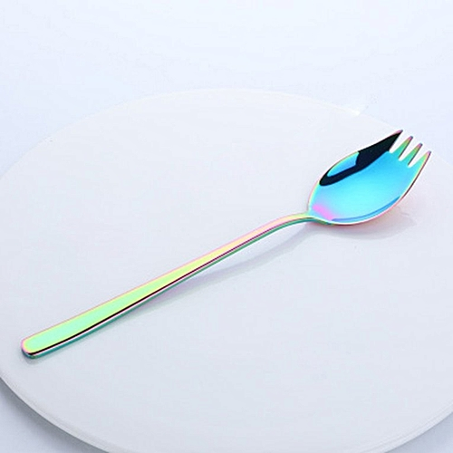 Stainless Steel Thicken Spoon Creative 2-in-1 Fork Kitchen Gadget Colorful