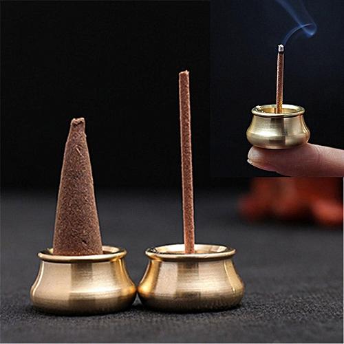 Stick Incense Burner Brass Bowl Holder Cone Plate Censer Tower Home Decoration