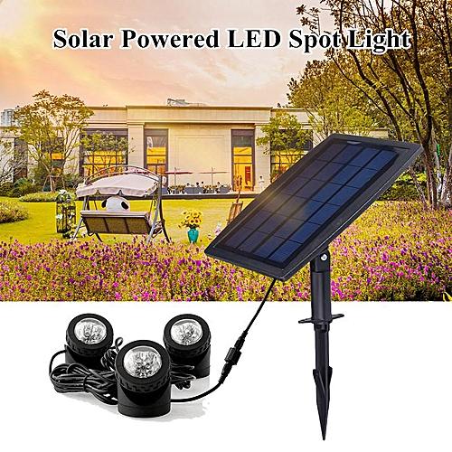 Waterproof LED Solar Powered 3 Spotlight Outdoor Landscape Garden Pool Pond Lamp White