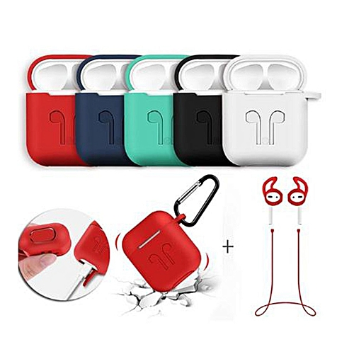 Silicone Wireless Earphone Headphone Carrying Case Cover Skin Sleeve Pouch White