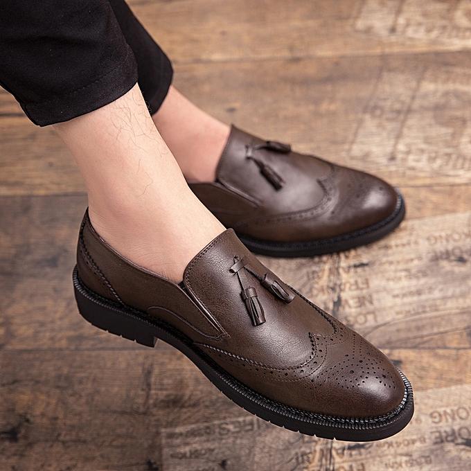 05b6186070d EUR Size 38-47 Fashion Leather Shoes Men Carved Tassel Shoes Oxford Shoes  For Men Footwear Brown