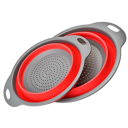 Foldable Silicone Colander Vegetable Washing Basket - Red