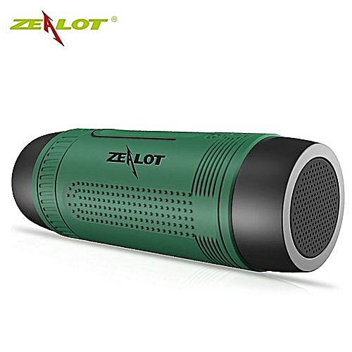 Zealot S1 Bluetooth Speaker Outdoor Portable Subwoofer Bass Wireless Speakers Power Bank+LED Green