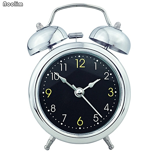 Digital Alarm Clock Creative Fashion Simple Mute Round Metal Portable Bedside Clock European Home Living Room Table Decoration(Silver-B)