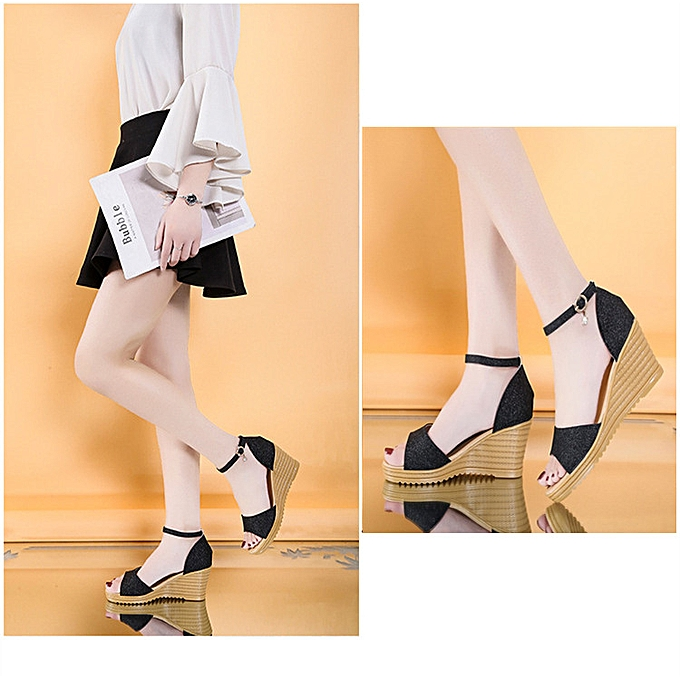 ab8eeed7c ... Ladies Wedge Sandals Classy Design Ankle Strap Fish Mouth Shoes - Black  ...