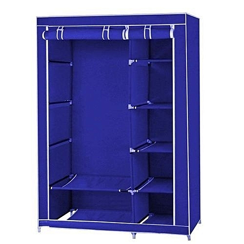 Mobile Wardrobe Closet With Wheels-Blue