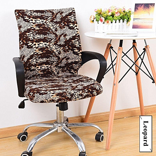 Office Chair Armrest Cover Set Computer Boss Seat Cover Cloth Stool Set Swivel Chair Sheath Elastic Seat Cover#Leopard L