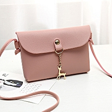62d0b033239 Popular Women  039 s Vintage Small Deer Pendant Leather Crossbody Shoulder  Bag Pink