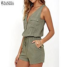 6982b9a884f2 ZANZEA Women Summer Casual Romper V Neck Sleeveless Pocket Jumpsuit Playsuit  Green