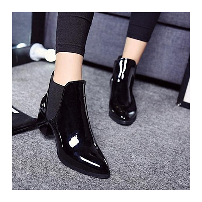 a3f30be8fc5ef Fashion Elastic Band Pointed Block Patent Leather Ankle Boots For Women