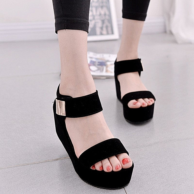 26b5f1c6160 Women Flat High Wedge Sandals Ankle Strap Velcro Platform Shoes Chunky  Creepers