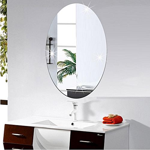 generic mirror wall sticker oval self adhesive room decor stick on