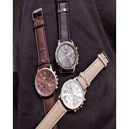 Geneva 3 In 1 Unisex Classic Analogue Leather Wristwatch Brown,Black & Champagne Gold