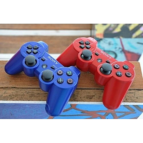 A Pair: 2pcs PS3 Controller Pad - DualShock 3 Wireless Controllers For Official PlayStation 3- Red & Blue