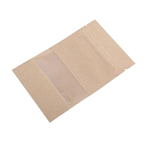 100pcs Kraft Paper Bag Pouch Stand Up Coffee Food Zip Lock Packaging Re-Sealable Pouch With Window 9*14CM