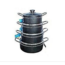 New Copper Aluminium Non-Stick Cookware Set Pan Saucepan Glass Lid 6//7//8Pcs
