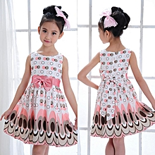 f2ae07bccedf Kids Girls Bow Belt Sleeveless Bubble Peacock Dress Party Clothing PK XL