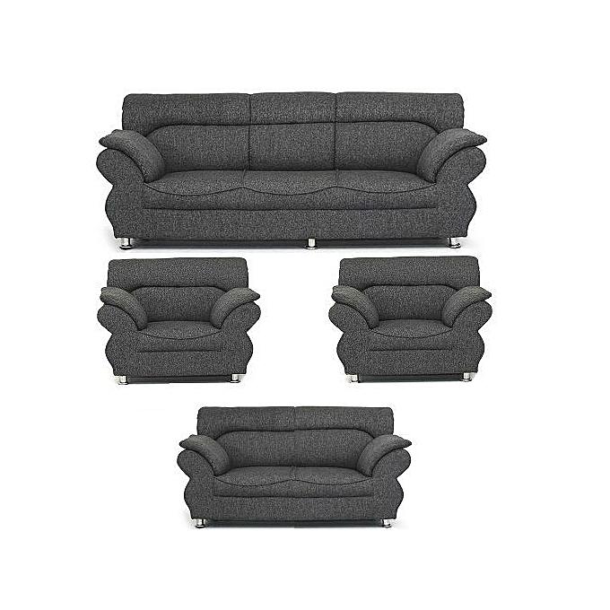 Pawa Furniture Abundo Super Grey 7 Seaters Sofa Free Ottoman Delivery
