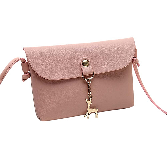 d8b662858a1 Women's Vintage Small Deer Pendant Leather Crossbody Shoulder Bag Pink