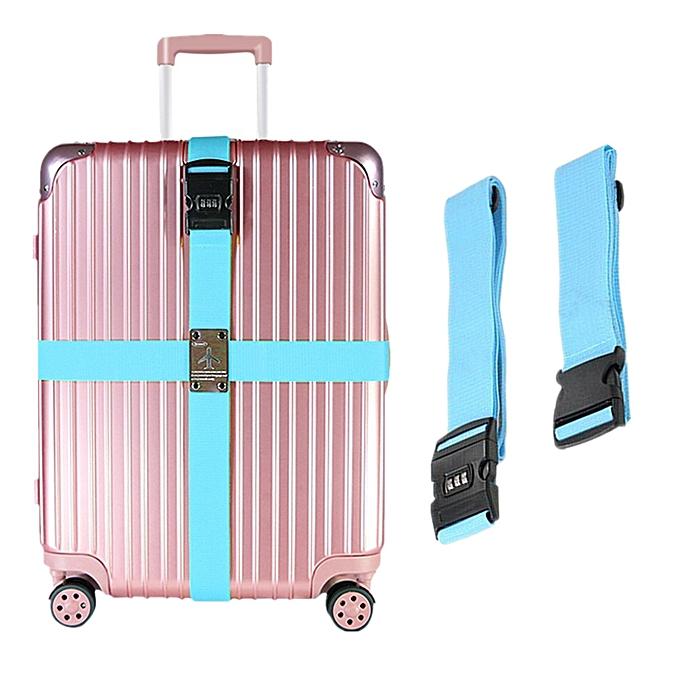 e248d397e966 Luggage Strap Adjustable Cross, Travel Bag Suitcase Belts With TSA  Combination Lock Blue