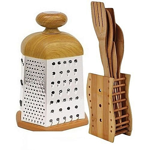 5 Set Of Kitchen Wooden Spoons + Grater With Wooden Handle- Brown