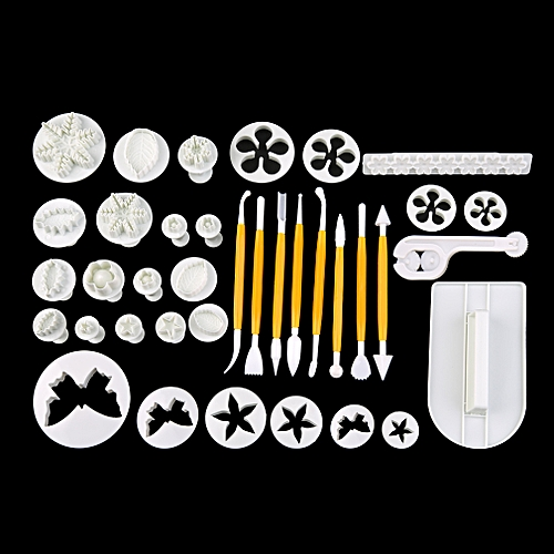 Home-12 Set 37Pcs Fondant Cake Decorating Icing Cutters Plungers Mold DIY Tools*