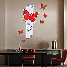 Jiuhap Store Butterfly Fly Large DIY Wall Clock 3D Mirror Surface Sticker Home Decor-Red for sale  Nigeria
