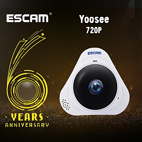 ESCAM Q8 White HD 960P 1.3MP 360 Degree Panoramic Fisheye WIFI IR Infrared Camera With Two Way Audio/Motion Detector(White) CUI WOT