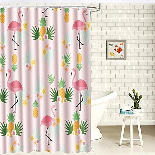 4pcs/set Flamingo Bathroom Pink Shower Curtains Set Cute Anti Slip Bath Floor Mat Toilet Seat Cover Kit Washable Curtain Kit