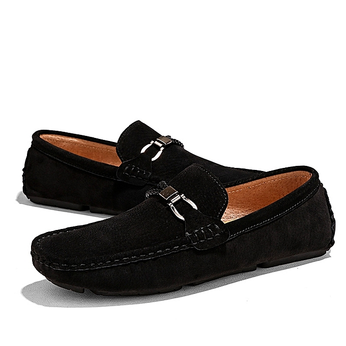 Top Quality Men Shoes Casual Suede Leather Loafers Men Moccasins Black