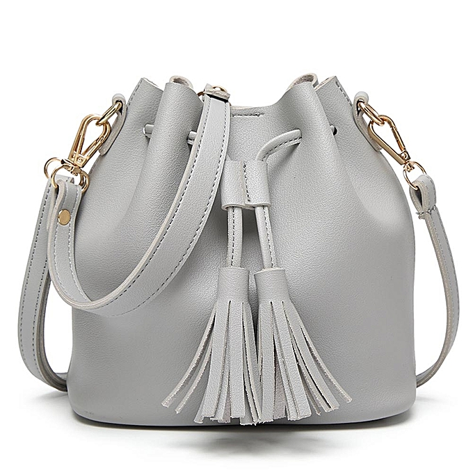 ef2925f41541 Fashion Women Leather Handbag Crossbody Shoulder Messenger Tassels Bucket  Bag-Gray
