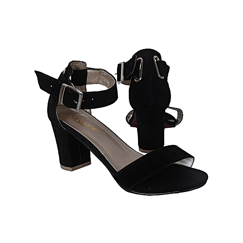 Ladies Ankle StrapShoes Moderate Block Heel Sandal-Black