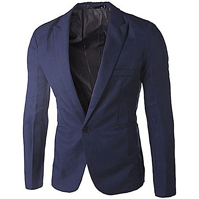 Fashion Slim Fit Men's Blazer Jacket - Navy Blue