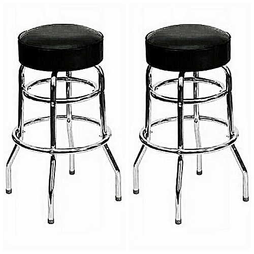 Four-Legged Leather Bar Stool With Fixed Stools Height - Set Of 2 Stool ( DELIVERY Within LAGOS ONLY )