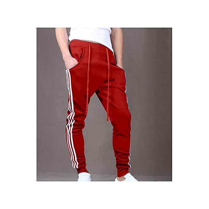 c791f00ef Mens Slim Fit Sport Pants Long Trousers Tracksuit Fitness Workout Joggers  Gym Sweatpants -Red