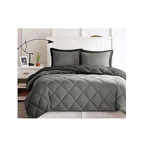 Reversible Duvet/Quilt With 4 Pillow Cases - Grey/Black