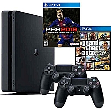 8c2377f77ae PS 4 Slim Console 1TB + 2 Controllers + Pes 19 And GTA