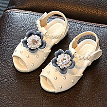 1c226f4df007 DM Summer Girls Sandals Anti-Skid Flower Children Shoes Fashion Beach -white amp 21