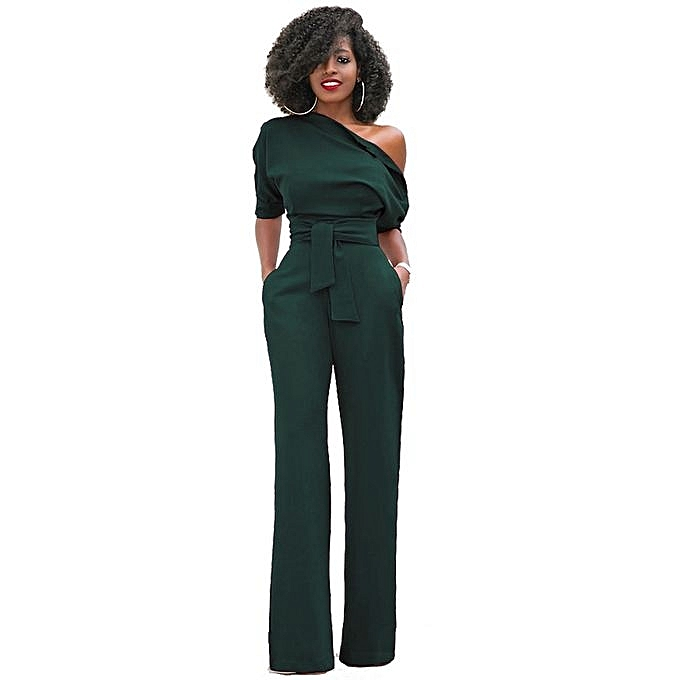 92844b088b9 Women Off The Shoulder Jumpsuits Plus Size Rompers Jumpsuits Short Sleeve  -dark Green