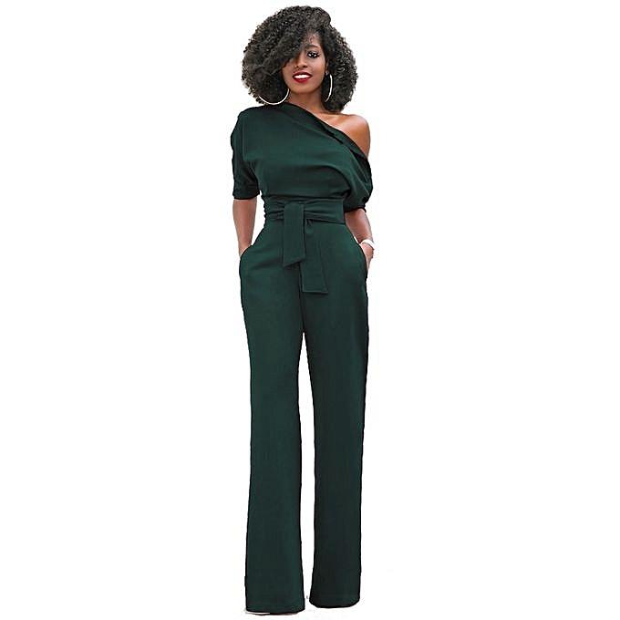 252d58168cb7 Women Off The Shoulder Jumpsuits Plus Size Rompers Jumpsuits Short Sleeve  -dark Green