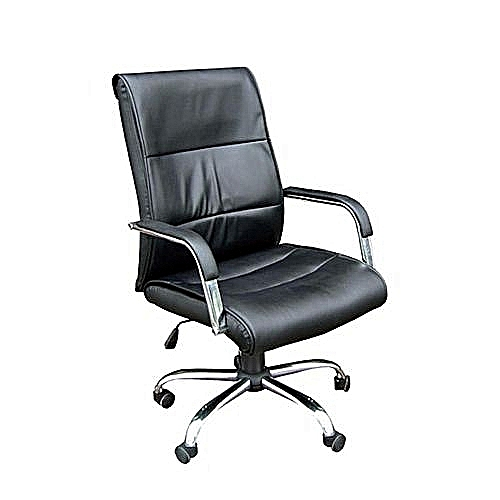 Swivel Chair Model WPOC007- Black Leather And Stainless