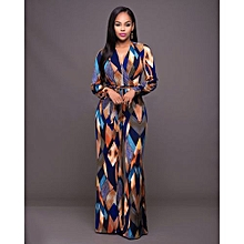 56a61b2a51f1 Women Fashion Full-sleeve High Waist Multicolor Contton Slim Ankle-lenght Jumpsuit  Romper Playsuit