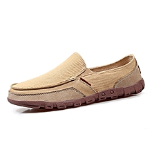 Size 6-11 Slip On Denim Canvas Shoes Men Casual Loafers (Apricot)