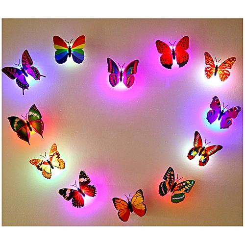 272297049399 3D Butterfly Art Decal Home Decor Night Light PVC Butterfly Wall Mural Sticker-Multi