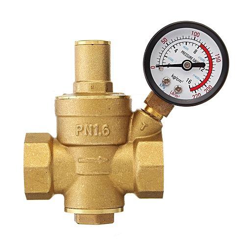 DN20 3/4'' Water Pressure Reducing Valve& Gauge Regulator Reducer Adjust Brass