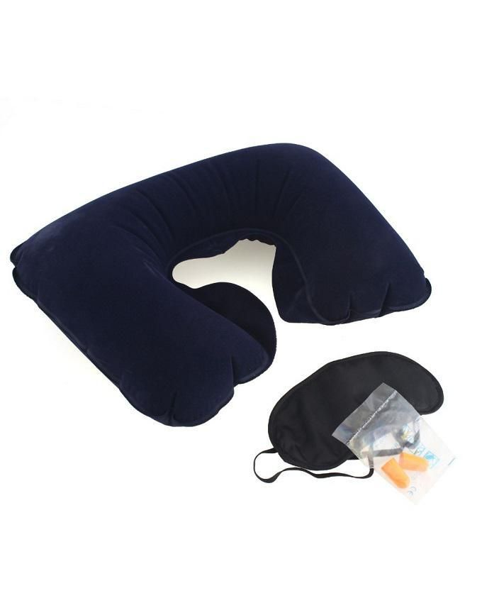3 In1 Inflatable Travel Pillow with Eye Mask and Ear Plugs