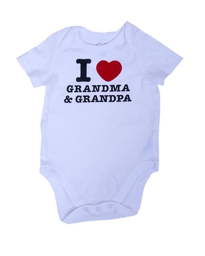 Unisex Love Grandma n Grandpa Body Suit - White