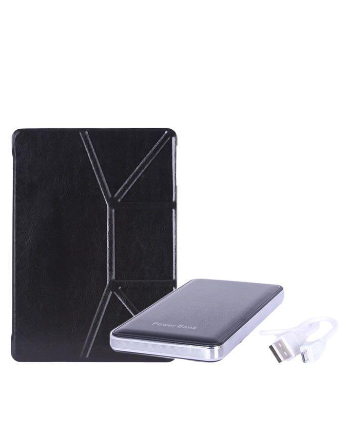 9.7-Inch Leather Case for Apple iPad - Black/Cream + 12000mAh Mobile Power Bank - Black